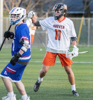 Hoover's Drew Robinson celebrates his goal during a game against Lake on Tuesday, April 6, 2021. (Special to The Canton Repository / Bob Rossiter)