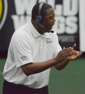 Salina Liberty coach Heron O'Neal his teams during a game against the Ohama Beef earlier this season at Tony's Pizza Events Center. The team announced Wednesday that O'Neal has signed a four-year contract extension through 2025.
