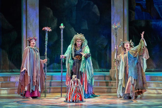"""A sorceress played by Annie Chester, center, with witches portrayed by Abigail Raiford, left, and Kathryn Domyan, in a scene from the Sarasota Opera production of """"Dido and Aeneas."""""""