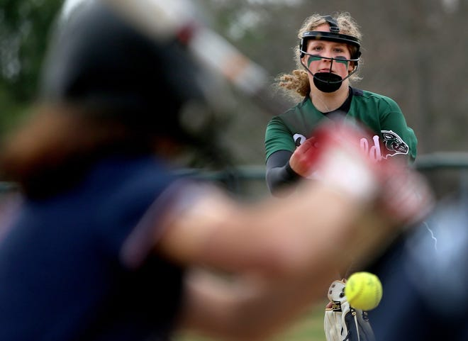 Griswold's Kaelin Waldron delivers a pitch during the Wolverines' win against Windham at Griswold High School.