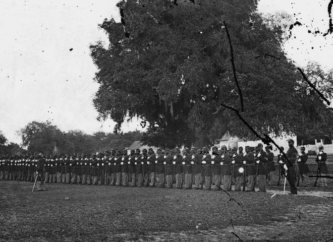 Detail from 29th Regiment from Connecticut in Beaufort, South Carolina, in 1864.