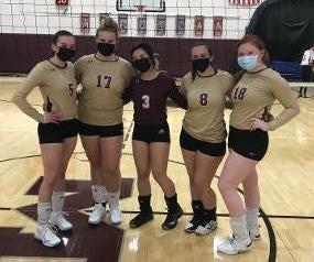 From left, Lauren Kelly, Allison Pine, Skylar Howard, Nina Romeo and Isabella Bertrand are the Millbury girls' volleyball seniors.