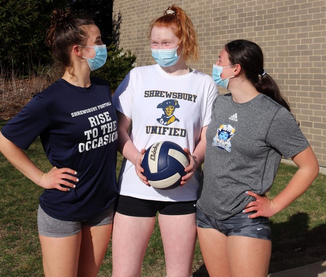 Emma Brady, center, had six kills and two aces in Shrewsbury's volleyball victory on Tuesday.