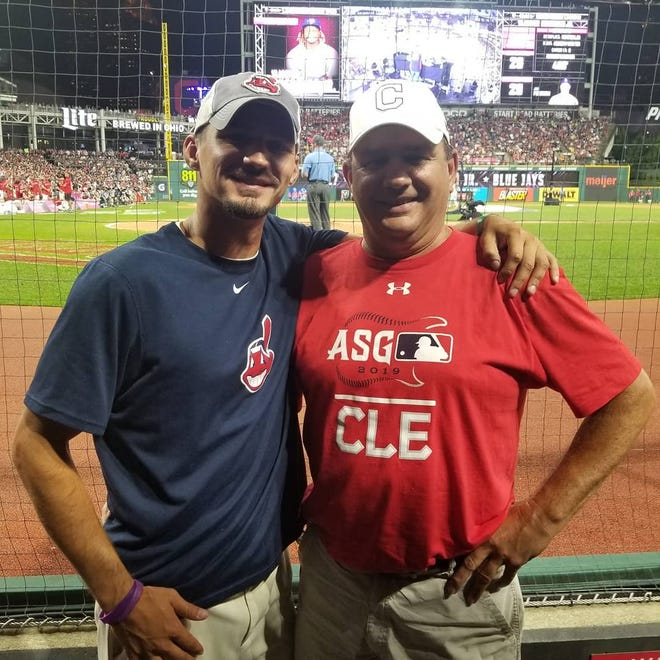 Sam and Jeff Fondriest pose for a photo at the Major League Baseball Home Run Derby held at Progressive Field in Cleveland back in 2019.