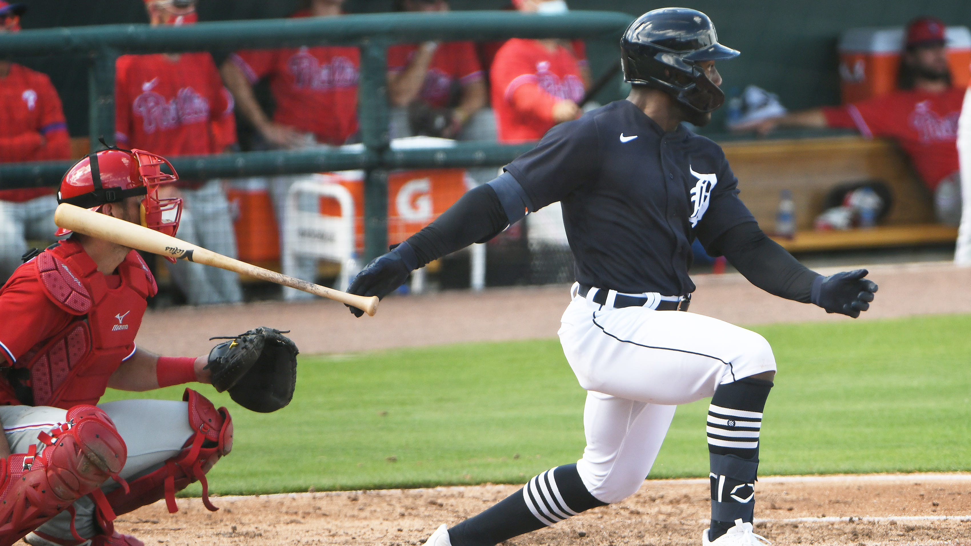 The Tigers selected Akil Baddoo in December's Rule 5 draft from the Minnesota Twins.