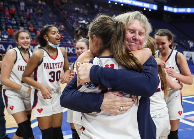 """Head coach Donna Moir -- who won her 700th game after the Valkyries defeated Anderson County earlier in the day -- said winning the 701st after defeating Marshall County was """"more special"""" for the state championship. April 10, 2021"""