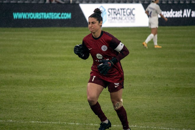 Racing Louisville FC goalkeeper Michelle Betos, pictured here during the team's opener on April 10, did not allow a goal as Louisville tied Gotham FC 0-0 on May 2.