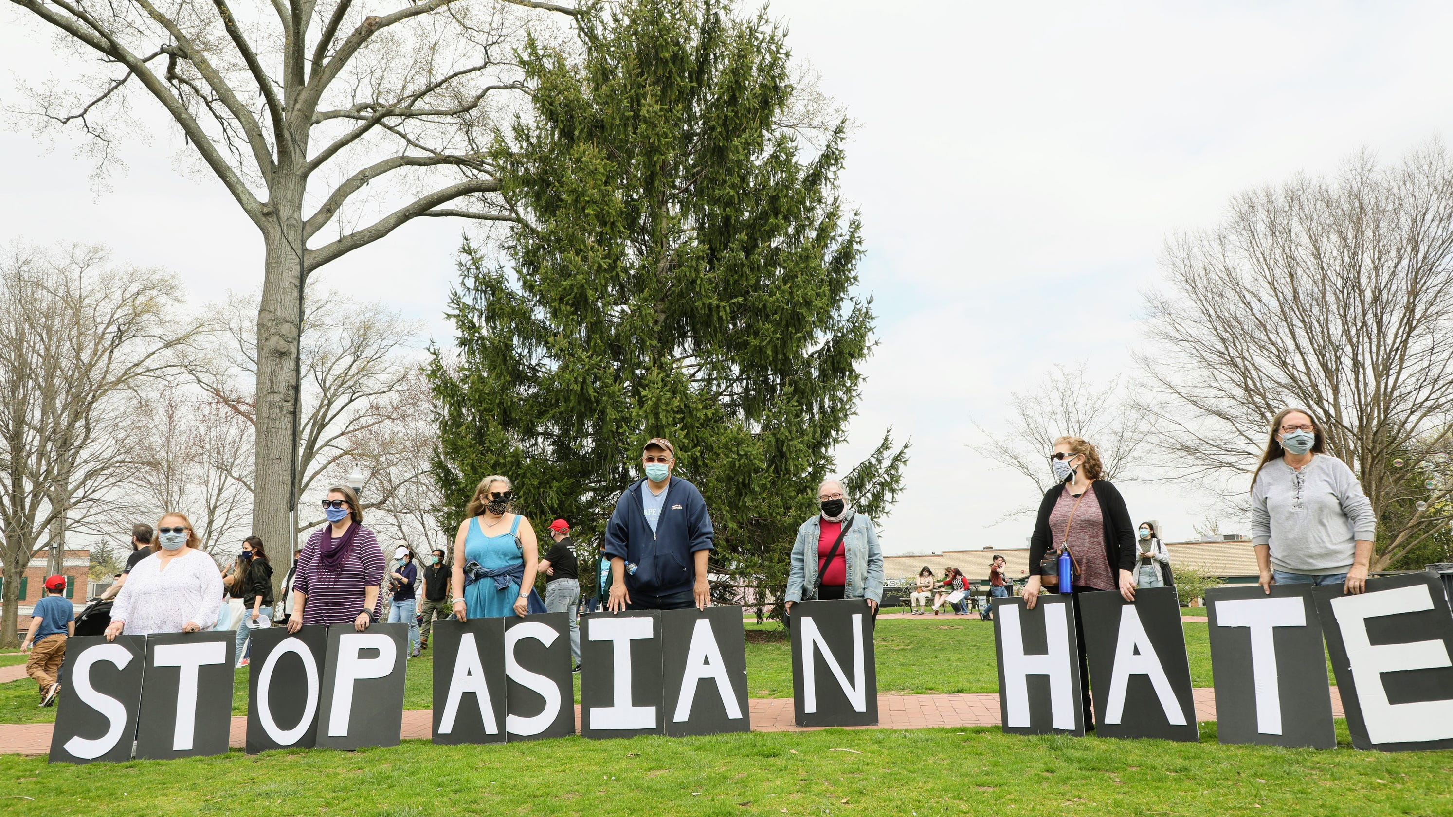 Anti-Asian-hate rally attracts hundreds in Ridgewood, but also protesters against mayor