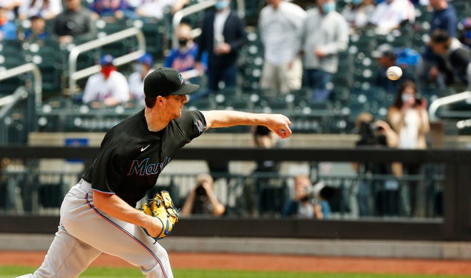Apr 10, 2021; New York City, New York, USA; Miami Marlins starting pitcher Trevor Rogers (28) pitches against the New York Mets during the first inning at Citi Field. Mandatory Credit: Andy Marlin-USA TODAY Sports