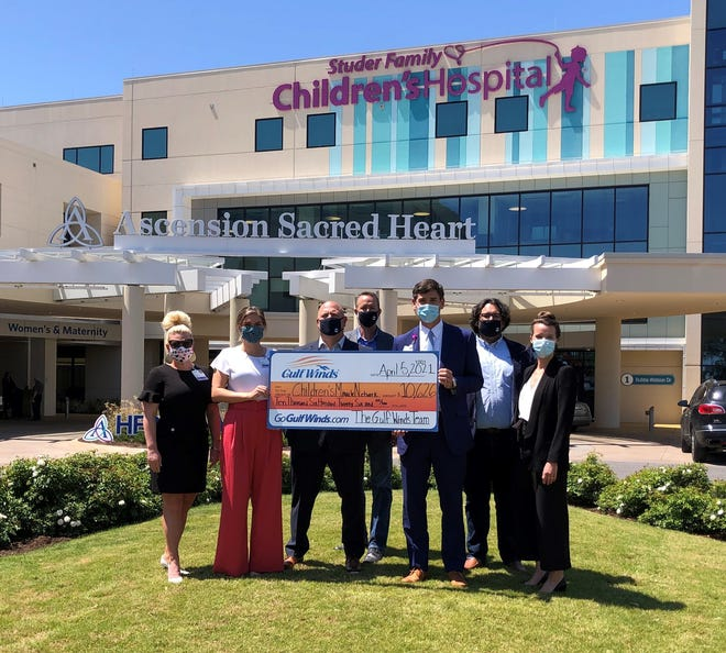 Gulf Winds Credit Union presented the Children's Miracle Network at Ascension Sacred Heart with a donation for $10,626 on April 5, 2021.