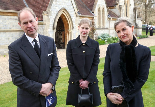 Prince Edward (left), Countess Sophie (right) and their daughter, Lady Louise Windsor (center), attend Sunday service at the Royal Chapel of All Saints on April 11, 2021, two days after the death of Edward's father, Prince Philip.