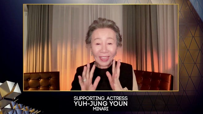 """""""Every award is meaningful but this one, especially recognized by British people [who are] known as very snobbish people, and they approved me as a good actor,"""" Youn Yuh-Jung said in her BAFTA acceptance speech following her role in """"Minari."""""""
