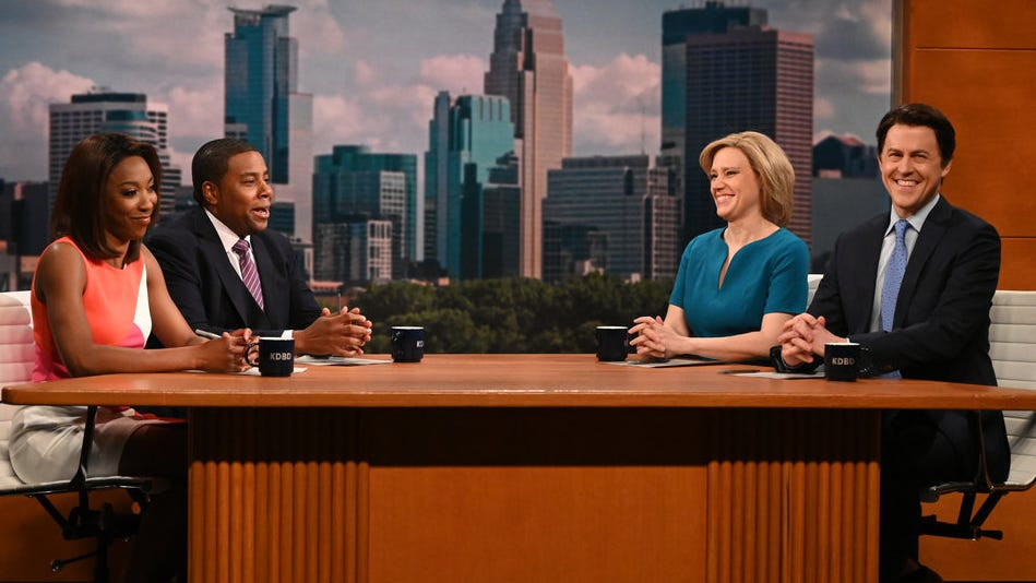 """SATURDAY NIGHT LIVE -- """"Carey Mulligan"""" Episode 1802 -- Pictured: (l-r) Ego Nwodim, Kenan Thompson, Kate McKinnon, and Alex Moffat during the """"Minnesota News"""" Cold Open on Saturday, April 10, 2021 -- (Photo by: Will Heath/NBC)"""