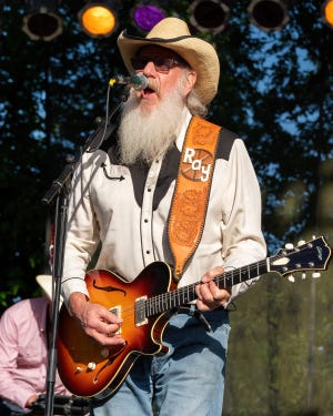 Ray Benson of Asleep at the Wheel performs at the Nutty Brown Amphitheatre on April 10, 2021 in Austin, Texas.
