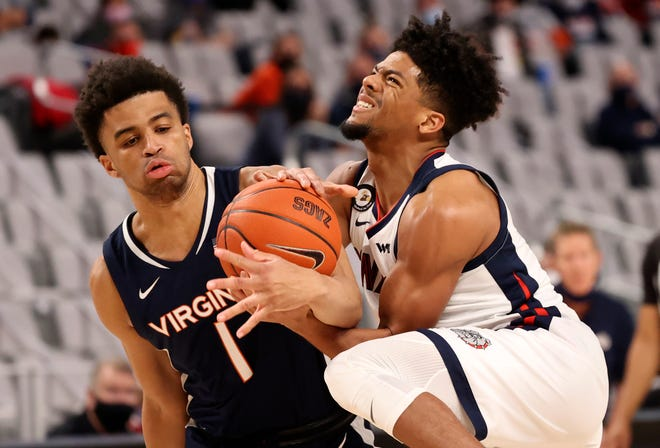 Virginia Cavaliers guard Jabri Abdur-Rahim (1) was ranked the No. 38 overall player in the class of 2020 by the 247Sports Composite, but injuries limited his playing time last season. [Kevin Jairaj/USA TODAY Sports]