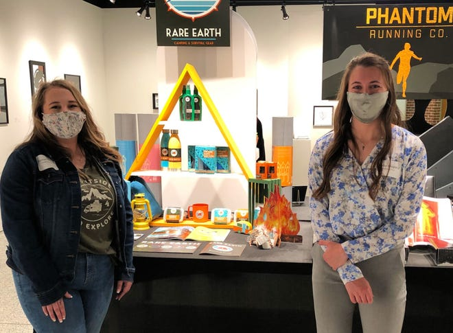 Ashland University seniors Hannah Osborn, left, and Harlie Gregory are among the AU students who have their art on display at Coburn Gallery for the Senior Art and Design Exhibition, which runs through May 8.