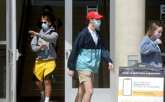 University of Missouri students leave the MU Student Center on Monday wearing masks to prevent the spread of the COVID-19 virus. Mid-Missouri is on track to lead the state in establishing herd immunity, with 38.2% of county residents receiving an initial COVID-19 vaccination. Herd immunity is indirect protection from an infectious disease when a sufficient percentage of the population has become immune to the disease infection.