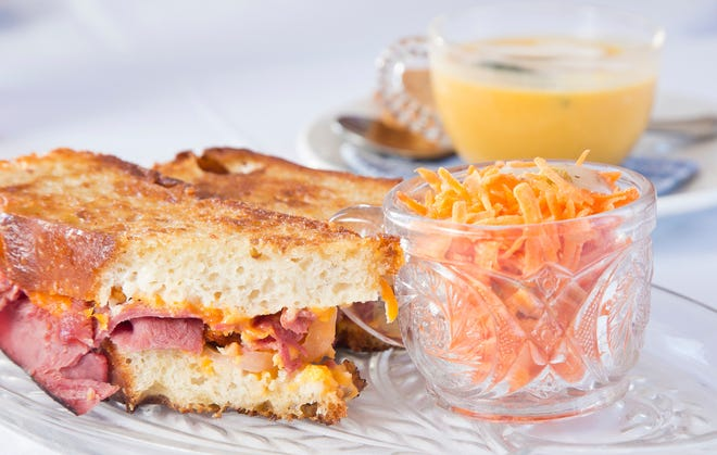 Grilled roast beef and aged cheddar sandwich with carrot salad and butternut squash soup at the Cambridge Tea House