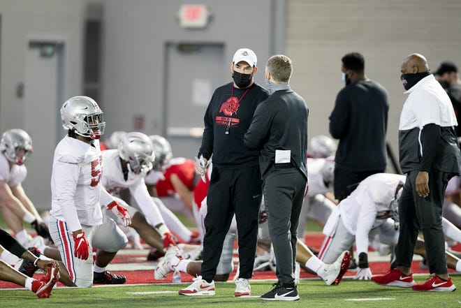 Ohio State coach Ryan Day, here at practice on April 2, said he hasn't determined whether Saturday's spring game will be a full-contact scrimmage.
