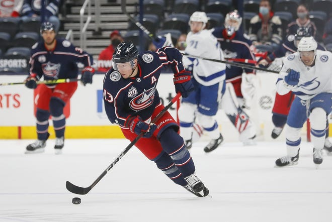 Blue Jackets right wing Cam Atkinson, here playing against Tampa Bay on Thursday, remains as a core member of the team's future.