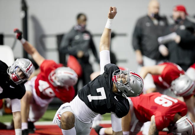 Even though quarterback C.J. Stroud has been taking the first snaps in practices open to the media, Ohio State coach Ryan Day said no player has taken the lead in the competition.
