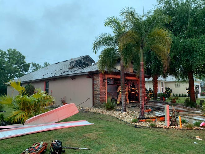 Sunday storms brought lightning,which zapped a house in Mount Dora, setting it ablaze.