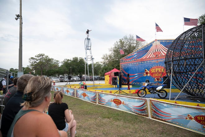 A crowd watches the 3 Ring Super Circus at the Lake County Fair on April 8. The fair continues through Saturday.