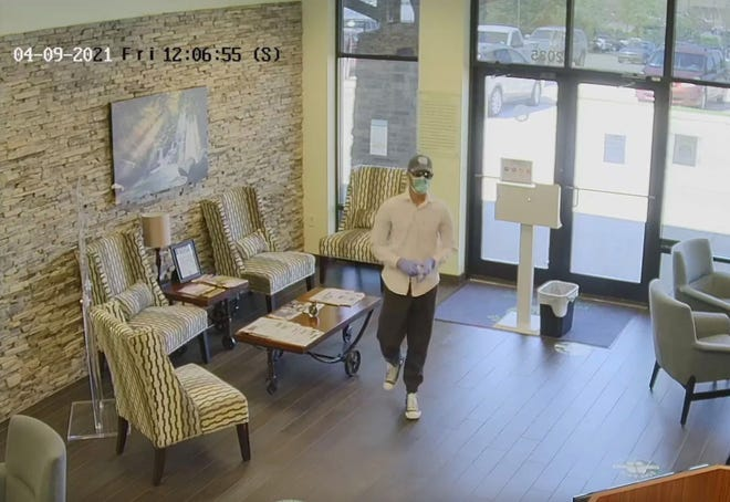 This suspect robbed Spring Hill's First Citizen Bank at about 12:05 p.m. on Friday, April 9, 2021.