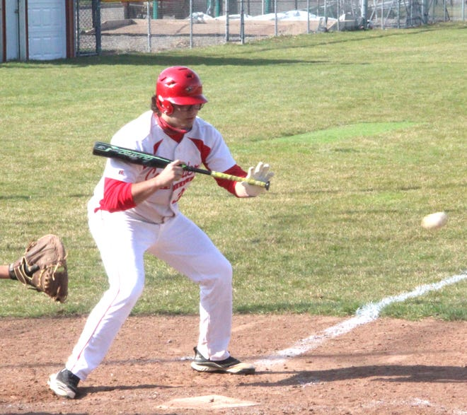 Coldwater's Logan Farmer, shown here in the Cardinals season opening win over Three Rivers, helped pace the Cardinals potent offense in a victory over St. Francis Saturday.