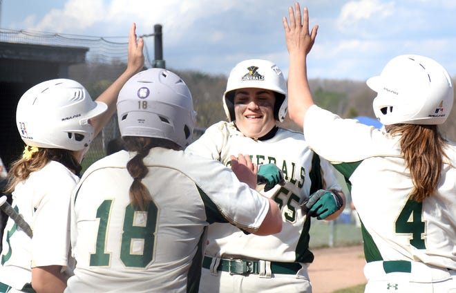 Herkimer College teammates Michaela Ponticello, Alexis Garrison and Alexis Van Patten (from left) greet General Maiya Reinhart (55) at home plate following Reinhart's home run in Saturday's second game against Cayuga Community College.