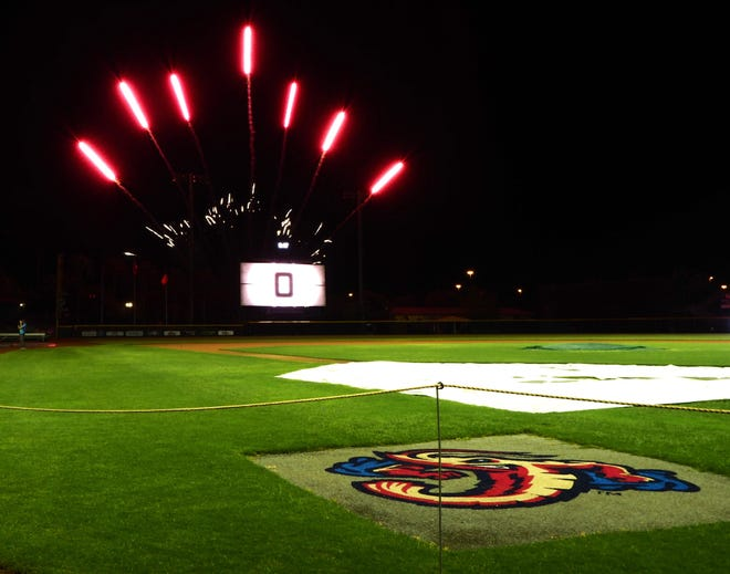 Fireworks blast during a Jumbo Shrimp movie night in July 2020. The Jumbo Shrimp will be resuming their fireworks displays this year, expanding to several Saturdays in addition to the usual Fridays.