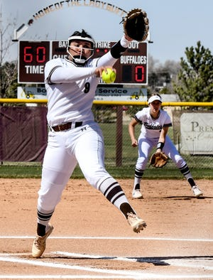 Garden City High School's Gisselle Gutierrez winds up to make a pitch to a Goodland batter during an April 1 game at Tangeman Sports Complex.