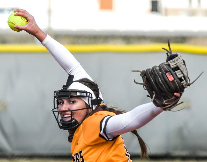 Garden City Community College's Lacey Kearsley winds up to make a pitch to a Northwest Technical batter during a March game at Tangeman Sports Complex. Kearsley picked up two wins on Saturday at Independence.