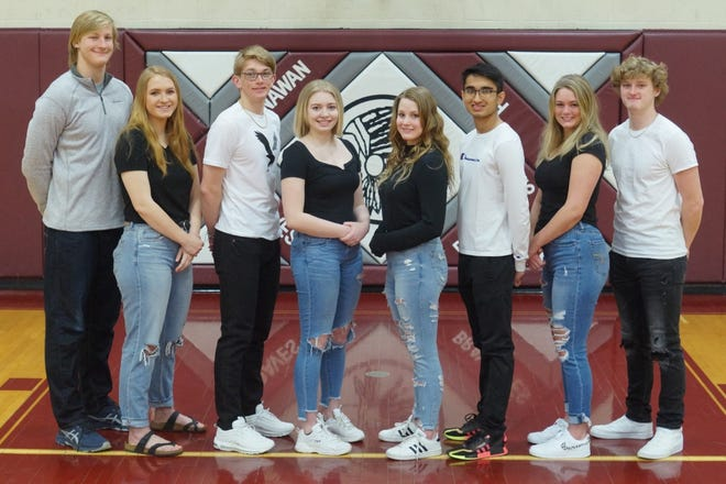 L to R: Zach Kulisek, Emily Miller, Rhett Hulick, Courtney Baele, Cali McKibbon, Kashev Jaswal, Ella Manuel, Reece Gripp.   Annawan will celebrate their Homecoming the week of April 19. The week will culminate in the Annawan Wethersfield Titans playing the Princeville Princes on Friday, April 23 @7:00PM.