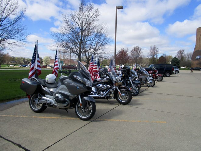 "Line of motorcycles from Patriot Guard Riders who were on hand to escort the funeral procession of Robert ""Bobby"" Schilling."