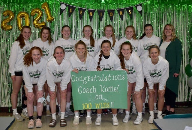 Senior members of the Geneseo Volleyball Team and Coach Casey Komel celebrated their win against Rock Island on Thursday, April 8, which also was Senior Night and marked the 100th win for Coach Komel. The seniors in the photo are, in front from left, Morgan Simms, Esther Brown, Taylor DeSplinter, Maggi Weller, Faith Henderson, Allie Mackey; in back, Hannah Dunk, Cadence Talbert, Addie Dunker, Abbi Barickman, Maddi Barickman, Lily Wiese, Brenna McGuide and Coach Komel.