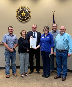 The Fannin County Commissioners declared April as Child Abuse Awareness Month in Fannin County. (From left) AJ Self, Edwina Lane, Judge Randy Moore, Sandy Barber, Jerry Magness, Dean Lackey.