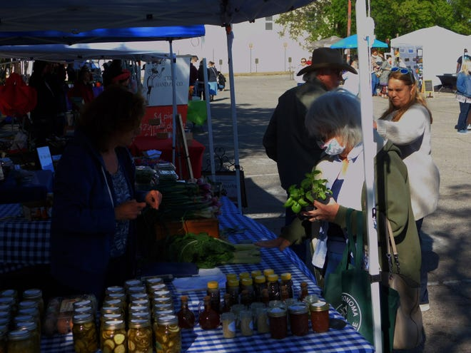 Visitors shop for locally grown produce and other items at the Sherman Farmer's Market, which opened for the season this weekend.