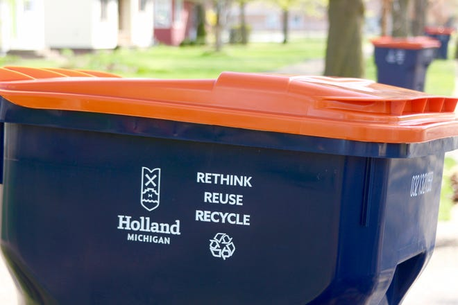 The city of Holland unveiled its recycling carts Monday, April 12, delivering the first group of bins to homes on the city's south side.