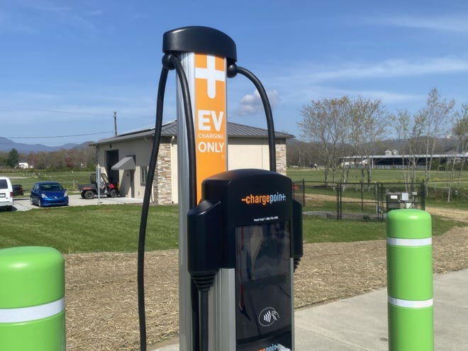 Two charging stations for electric cars were installed in Mills River Park last week.