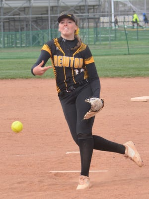 Newton pitcher Tegan Livesay tossed a complete-game win against Maize South in the second game of a doubleheader at Kelsch Field. Newton split the twinbill.