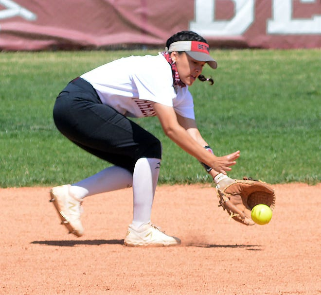 Bethel softball player Kailey Gonzales makes a play during a doubleheader against York College at Wedel Field.