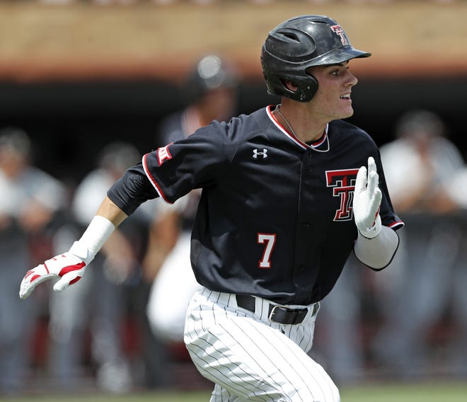 Texas Tech's Cody Masters (7) runs to first base during an NCAA college baseball regional game May 31, 2019 against Army at Dan Law Field at Rip Griffin Park. [Brad Tollefson/A-J Media File Photo]