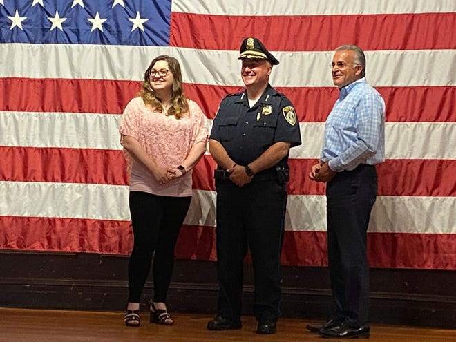 From left, City Clerk Katelyn Huffman, Acting Police Chief Aaron Kennedy and Mayor Dean Mazzarella are seen during Kennedy's swearing in ceremony as acting chief at Leominster City Hall in July 2020.
