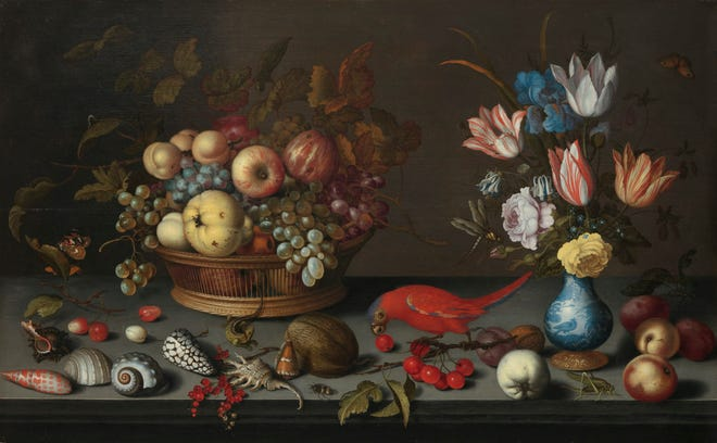 Balthasar van der Ast, Dutch, 1593/94-1657: Fruit, Flowers, and Shells; about 1620-1629;oil on wood panel;H: 21 3/4 in. (55.2 cm); W: 35 1/8 in. (89.2 cm.) 