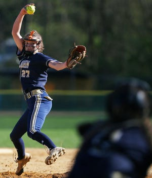 Pope John's Brianna Jones pitches during their game against Morris Knolls on April 24, 2019, at Pope John High School, in Sparta.
