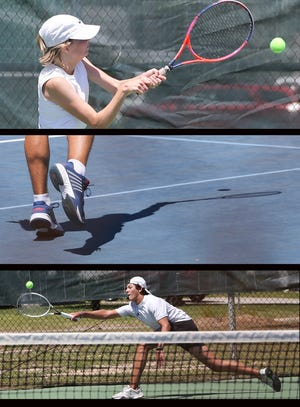Nicevilles Marcella Schmidt, Fort Walton Beachs Cole Armstrong and Nicevilles Blake Forester during District 2 3A Tennis action at the Fort Walton Beach Tennis Center.