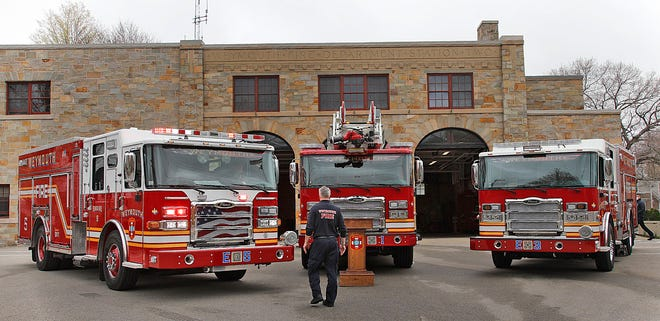 Weymouth Fire Department shows off three new trucks, Engine 5, Ladder 1 and Engine 3, two pumpers and a ladder truck, on April 12, 2021. They represent a 2.4 million dollar investment.