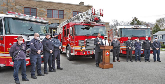 Mayor Robert Hedlund and Chief Keith Stark talk about the town's investment in fire equipment on Monday, April 12, 2021.