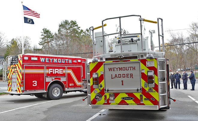 Weymouth Fire Department displays its three new trucks on Monday, April 12, 2021.